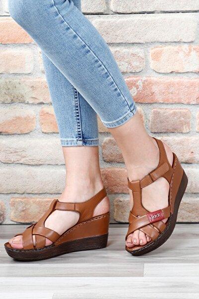 Hakiki Deri Tabaya Bordo Kadın Sandalet 45254