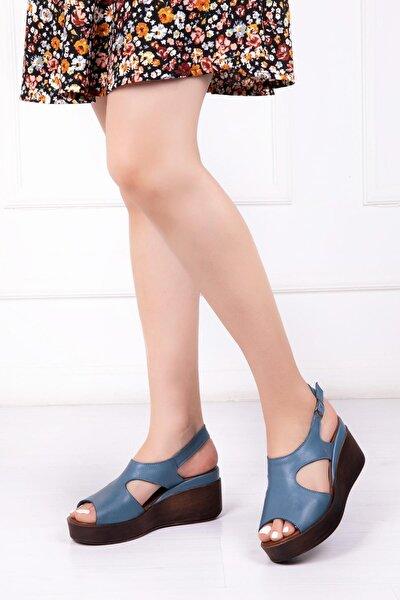 Hakiki Deri Kot Mavi Kadın Dolgu Topuklu Deri Sandalet Dp-86284