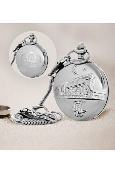 Tcdd Tren Kabartmalı Silver Köstekli Cep Saati