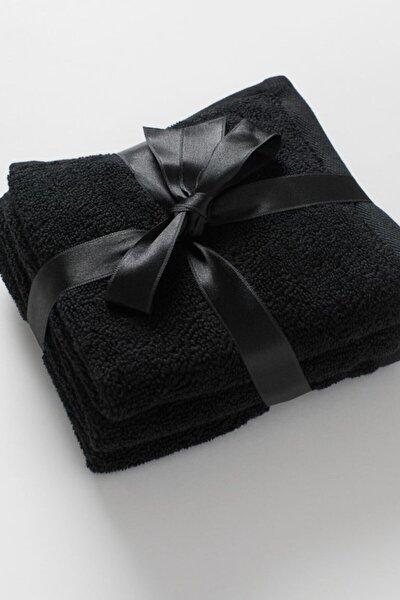 Siyah Renkli  Misafir El Havlusu 30x30 6'lı