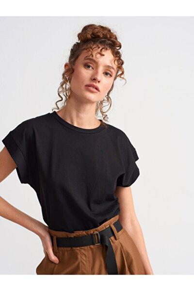 Kadın Siyah Bisiklet Yaka Penye Bluz