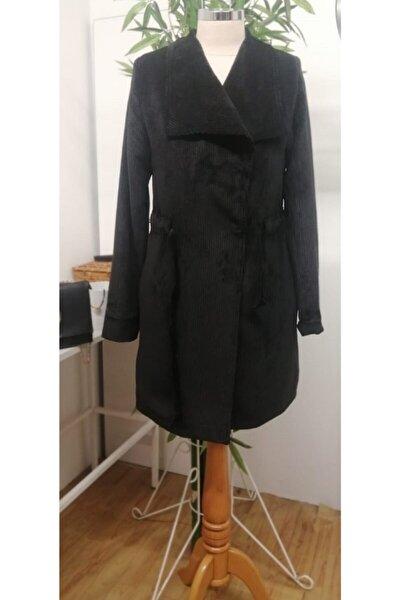 Kadın Siyah Kadife Kaban Ceket