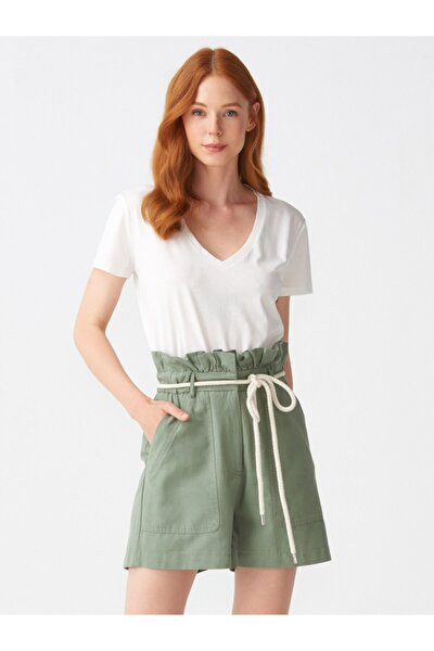 Kadın Ekru V Yaka Basic T-Shirt 101A03470