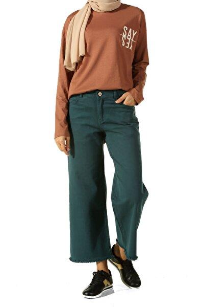 Kadın Mavi Bol Paça Püsküllü Pantolon