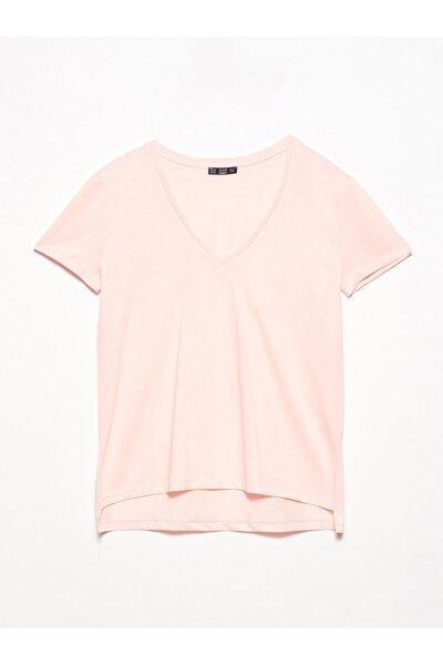 Kadın Somon V Yaka Basic T-Shirt 101A03470