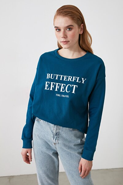 Lacivert Baskılı Örme Sweatshirt TWOAW21SW1976