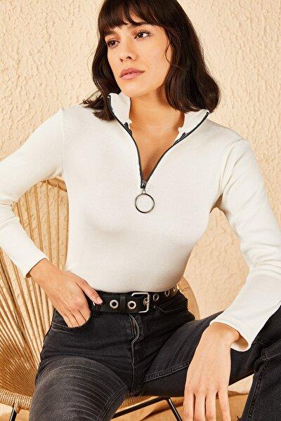 Kadın Beyaz Fermuarlı Kaşkorse Bluz 10191013