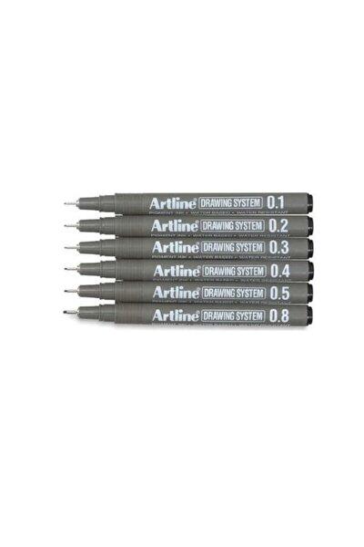 Drawing System Teknik Çizim Kalemi 6'lı Set**