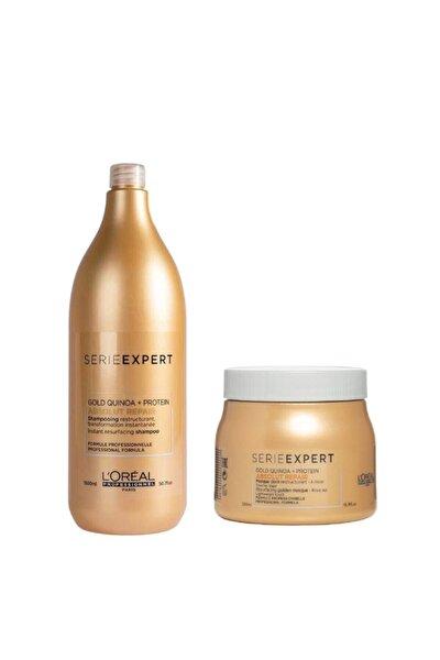 Loreal Absolut Repair Yıpranmış Saçlar Için Onarıcı Gold Şampuan 1500 Ml + Maske 500 Ml