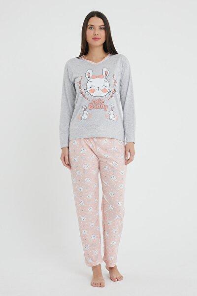 Kadın Uzun Kol Pijama Takımı Gri Tavşan Baskılı