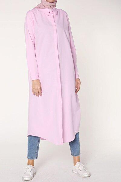 Kadın Açık Pembe Uzun Yazlık Gömlek Tunik