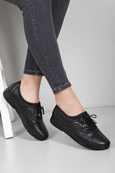 Hakiki Deri Siyah Kadın Günlük (Casual) Ayakkabı 45040