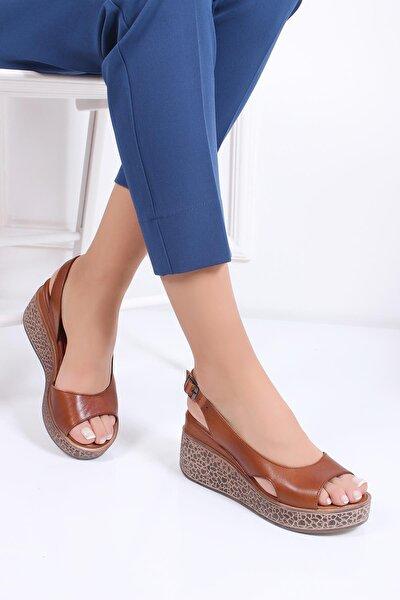 Hakiki Deri Taba Kadın Dolgu Topuklu Deri Sandalet Dp26-5001