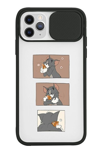 Iphone 11 Pro Max Uyumlu Tom Jerry Tasarımlı Slayt Lens Kamera Korumalı Siyah Telefon Kılıfı