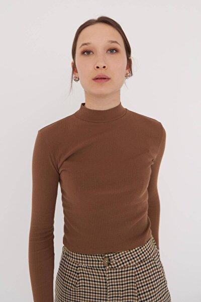 Kadın Koyu Kahve Uzun Kollu Bluz B1070 - U8 Adx-0000023027