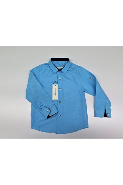 Unisex Çocuk Mavi Gömlek