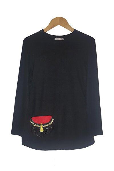 Kadın Siyah Yumoş Kumaş Çanta Tasarımlı Triko
