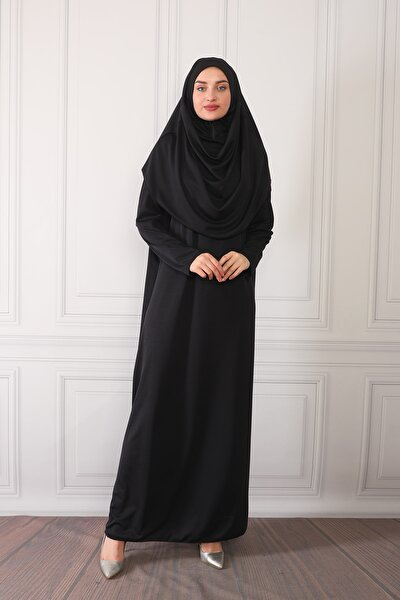 Kadın Siyah Tek Parça Boydan Giymeli Namaz Elbisesi