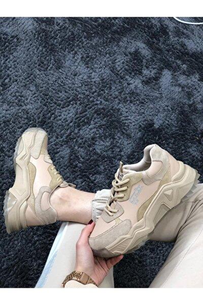 Kadın Bej Jel Tabanlı Spor Ayakkabı