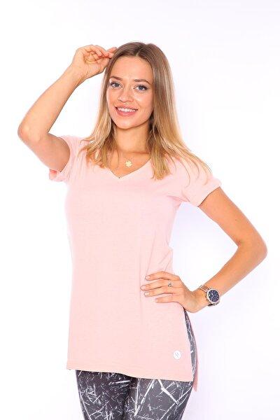 Kadın Somon V Yaka Yırtmaçlı Tunik Tshirt
