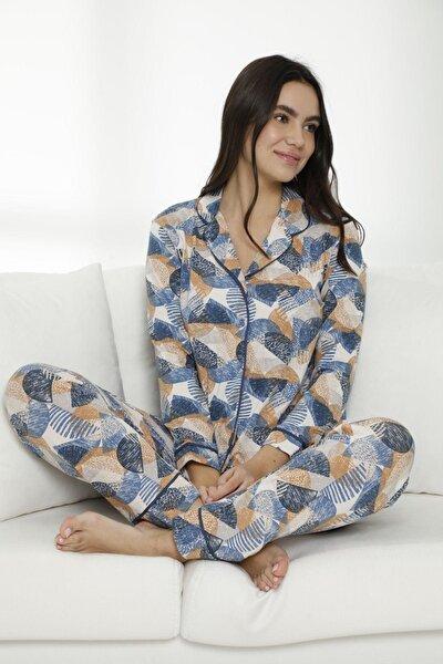 Kadın Çok Renkli Pamuklu Likralı Düğmeli Biyeli Pijama Takım