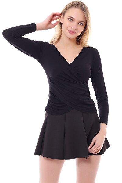 Kadın Siyah Viskon Ön Çapraz Kapama Bluz