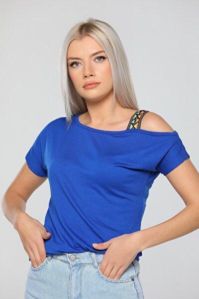 Kadın Saks Mavi Tek Omuz Açık T-shirt