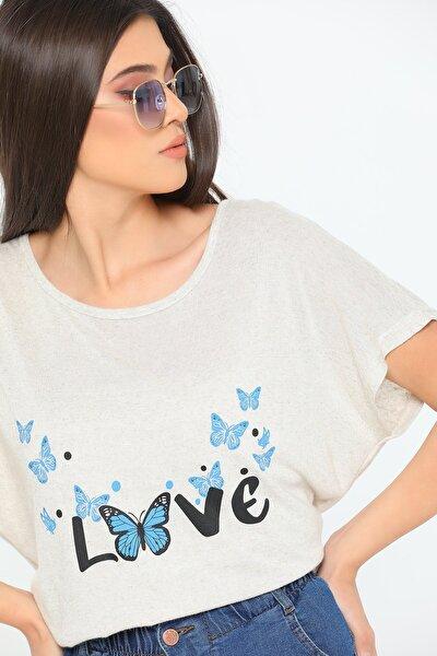 Kadın Love Baskılı Bisiklet Yaka T-shirt