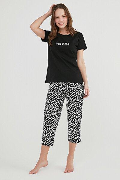 Kadın Siyah You And Me Kapri Pijama Takımı