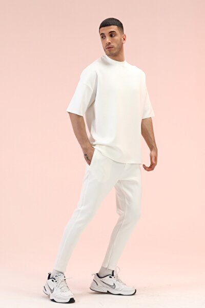 Erkek Beyaz Dar Paça Pantolonlu Takım