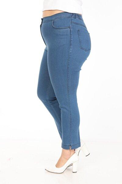 Büyük Beden Beli Lastik Detaylı Bilek Mavi Kot Pantolon