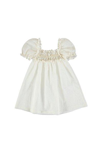 Kız Çocuk Bej İşlemeli Elbise