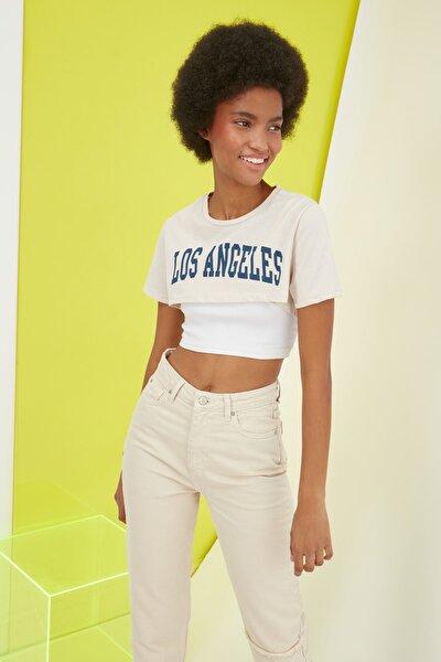 Taş Baskılı Crop Örme T-Shirt TWOSS21TS1340