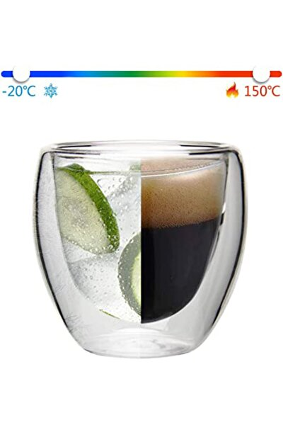 Çift Cidarlı Şeffaf Espresso Cam Bardak 4' Lü 80 ml