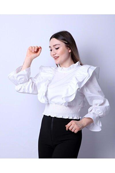 Kadın Beyaz Bel Ve Kol Gipeli   Bluz