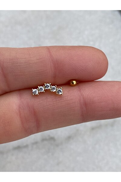 5taş Gold Tragus Helix Piercing