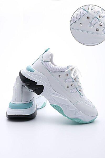 Atrin Kadın Dolgu Topuk Sneaker Spor Ayakkabıbeyaz