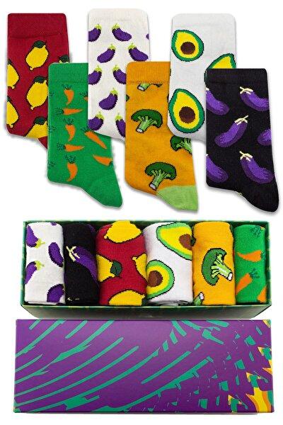 Sağlıklı Sebzeler Desenli 6 'lı Kutulu Çorap Seti