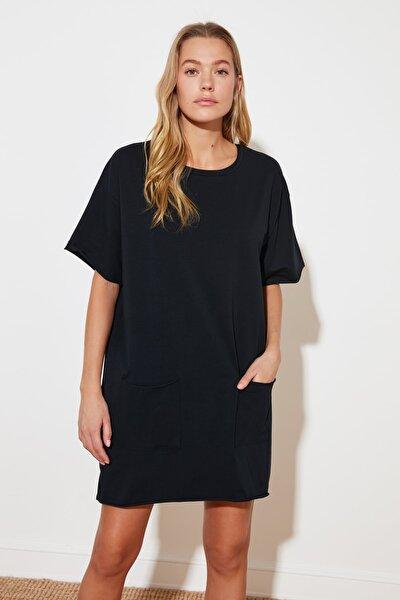 Lacivert Cep Detaylı Elbise TWOSS21EL3137