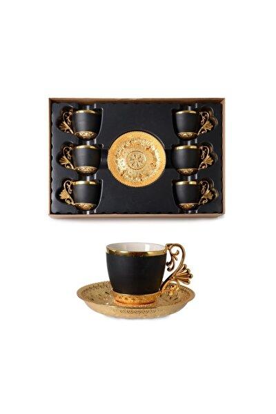 Mat Siyah Lal Elegance Kahve Fincanı Seti Gold