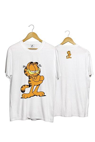 Unisex  Genç Beyaz Garfield Ego  Pamuk Normal Kalıp  T-Shirt