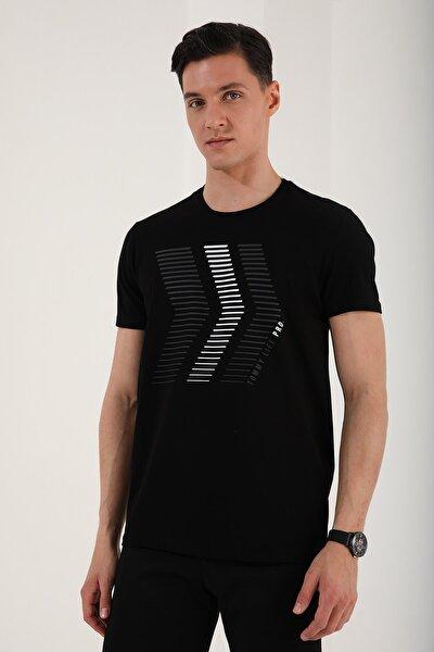 Erkek Çift Renk Ok Desen Baskılı Rahat Form O Yaka T-shirt - 87960