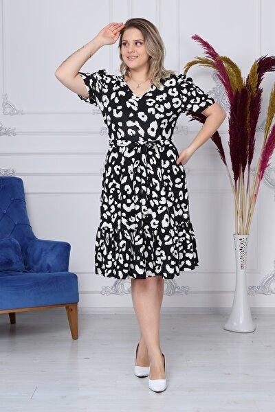 Kadın Siyah Beyaz V Yaka Balon Kol Elbise