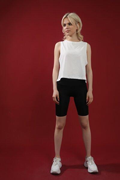 Kadın Beyaz Pamuk Bisiklet Yaka Crop Kolsuz Örme Tshirt