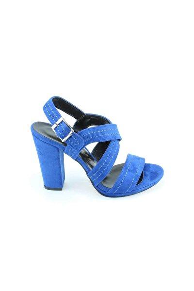 Kadın  Sax Mavi Çift Bantlı Dikiş Motifli Platform Kalın Topuklu Süet Ayakkabı