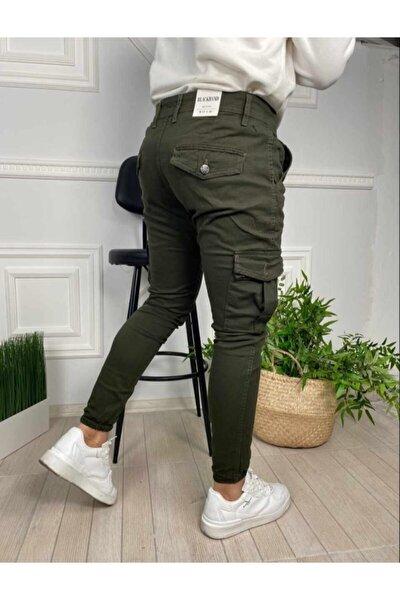 Erkek Haki Slim Fit Kargo Cep Paça Lastikli Pantolon