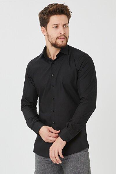 Erkek Siyah Slim Fit Düz Gömlek