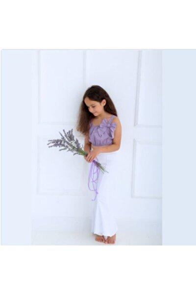 Kız Çocuk Ispanyol Paça Pantolon Ve Eflatun Bustiyer
