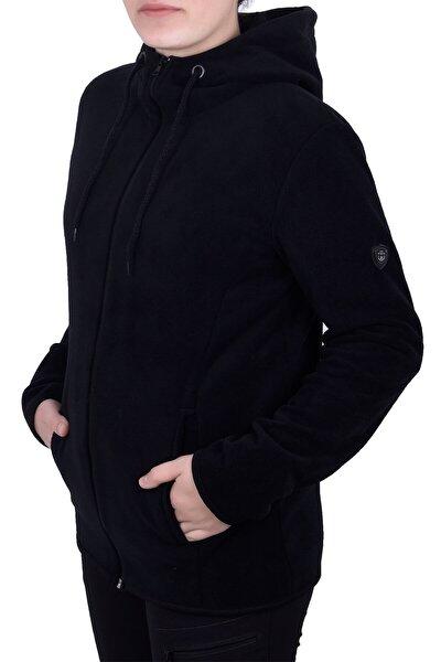 Kadın Siyah Kapşonlu Fermuarlı Polar Sweatshirt