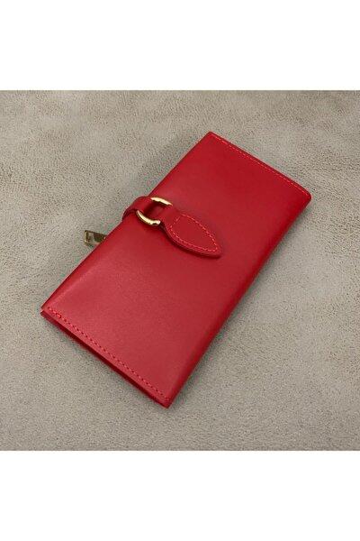 Kadın Kırmızı Deri Basic Cüzdan